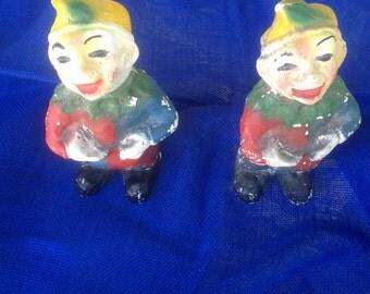 Carnival Chalkware - 2 clowns