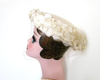 Sale!~Vintage White Floral Saucer Hat w/Veil~ Circa 1950's