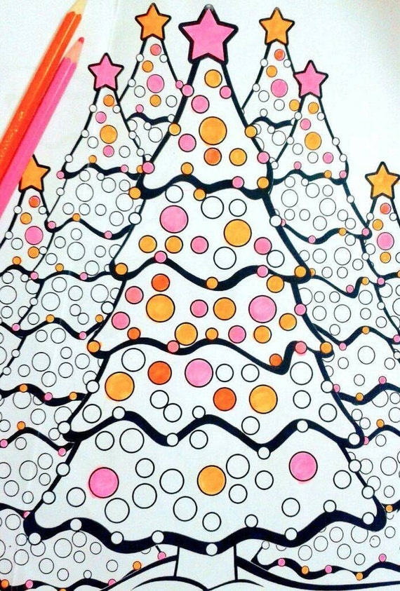 Winter Coloring Page Of Christmas Tree, Printable PDF To Color, Christmas Activity Sheet For Kids