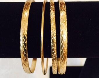 Goldtone Slip-on Bangle Bracelets Set