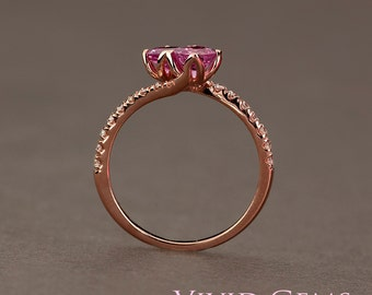 Pink Sapphire Ring, You and Me ring, 2 stone engagement ring, 14k Solid Rose Gold Ring, Diamond Ring, Toi et Moi