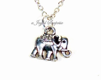 Tiny Elephant Necklace, Elephant Jewelry Silver Baby Animal Circus Africa Big 5 Little Girl Boy Birthday Gift Christmas Present Zoo 40