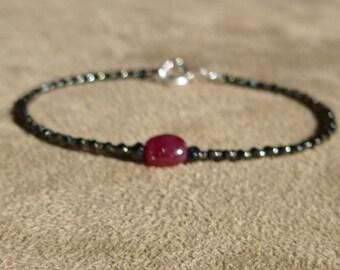 Ruby Bracelet, Black Spinel Bracelet, Gemstone Bracelet, Black Bracelet, Black and Red Bracelet, Skinny Bracelet, Black Anklet