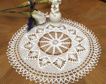 White Crochet Lace Doily Cottage Chic Modern Table Topper Lace Table Accessory White Crochet Napkin Crocheted Items Christmas gifts