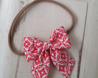 Red Paisley Stripe Sailor Bow