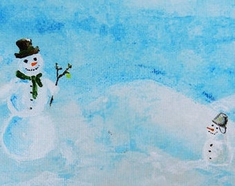 Image acrylic on canvas snowmen winter Christmas post cards canvas art picture 10,5 x 14,8 cm painting winter landscape original