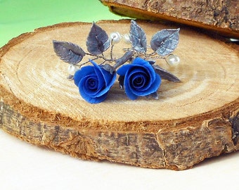 Earrings blue roses Handmade of polymer clay / Earrings Royal blue rose and silver leaves / Fancy drop earrings with dark blue rose / Gift
