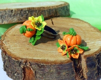 Cute Pumpkin Rings handmade polymer clay Jewelry Halloween Ring Orange jewelry thanksgiving Rings autumn Harvest jewelry Gift