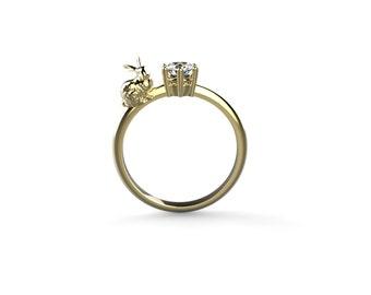 Bunny Engagement Ring 14k Yellow Gold Rabbit Engagement Ring 14k Rabbit Ring Gold Bunny Ring Bunny Rabbit Gold