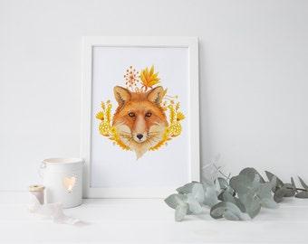 Fox Nursery Decor Fox Nursery Art Fox Print Nursery Fox Art Print