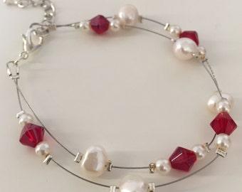 Lily, Bracelet (White/Red)