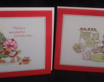 Vintage 1980 Strawberry SHORTCAKE Christmas Cards and Envelopes. Set of 2