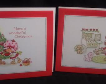 Vintage 1980 Strawberry SHORTCAKE Christmas Cards and Envelopes. Set of 2