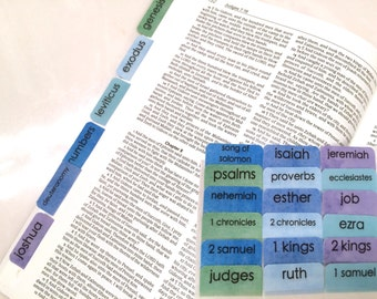 """STANDARD Watercolor """"Sea Glass"""" Books of Bible Tabs by Victoria Anderson"""
