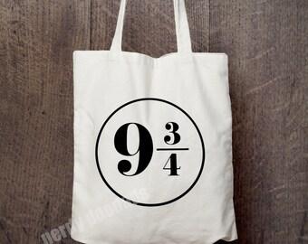 9 3/4 Canvas Tote Bag, Harry Potter Inspired Tote Bag, King's Cross Tote Bag, Market Bag, Eco Friendly Bag