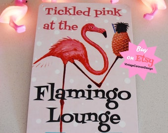 FLAMINGO LOUNGE tin SIGN! tickled Pink Vintage Caravan wall art fun camper trailer retro bar glamping Australian made 30x20cm glamper kitsch