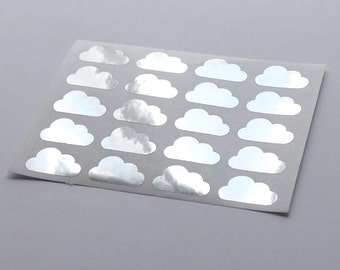 20 Metallic Silver Cloud Stickers, Silver Cloud Labels, Planner Stickers, Envelope Seal, Wedding Stickers, Birthday Stickers