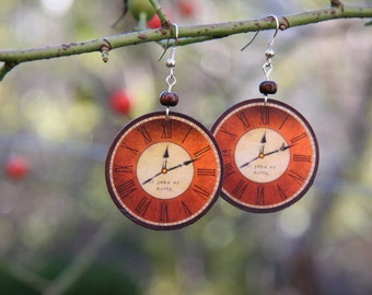Clock earrings, decoupage earrings, decoupage clock earrings, retro clock earrings. Free Gift Wrapping.