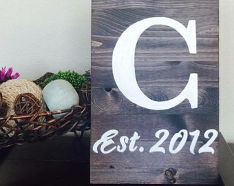 "MADE TO ORDER: Initial & Est. Date Sign - 8x12"" Handmade Wooden Sign"