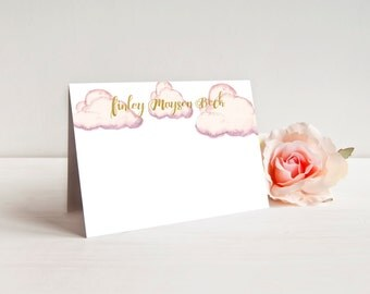 personalized girls stationery-pink stationery-gold stationery-pink notecard-gold notecard-pink cloud-girls notecards-personalized notecards