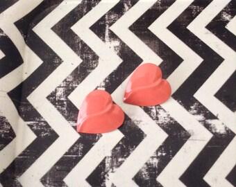 Blushing Hearts~Earrings~Metal/Enamel~Post~NOS~Vintage