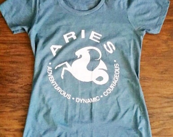 ARIES - What's Your Sign Tee in 2 Colors slim-fit Indigo Blue or Sand