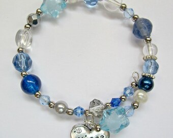 Blue memory wire child niece bracelet birthday gift, party bag gift