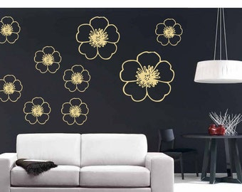 Floral Wall Decal 40 Pcs, Vinyl Wall Stickers,bloom Wall Decals, Children Wall Decals, Girl Bedroom Decor, Removable Wallpaper,nursery Decal