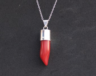 Large red coral bead pendant, Coral pendant, Coral necklace