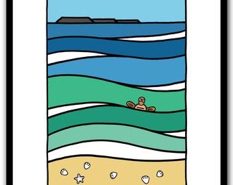 Cylinder Beach - Stradbroke Island, modern wall art print, stradbroke, turtle, ocean, green, blue, Limited edition of 50 prints