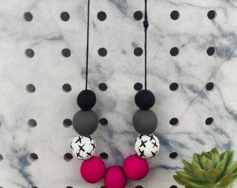 Cross My Heart Necklace // Fuschia Pink // Polymer Clay // Hemp Cord