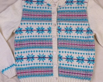 Ladies Fair Isle 1940s 1950s Style Cardigan