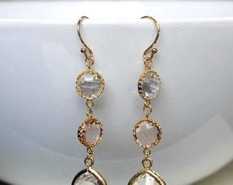 Blush wedding earrings, gold bridal earrings, blush bridal earrings, gold earrings, wife gift, mom gift, bridesmaids gift, christmas gift.