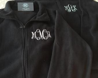 Monogrammed Fleece Jacket/ Monogrammed Coat/ Fleece/ Personalized Jacket/ Personalized Fleece/ Winter Monogram