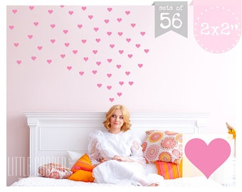 Love Hearts 2 x 2 inch Wall Decal Vinyl Sticker for Girls Sets of 56_For Nursery OR Kids Room_5 x 5cm_ID#1309