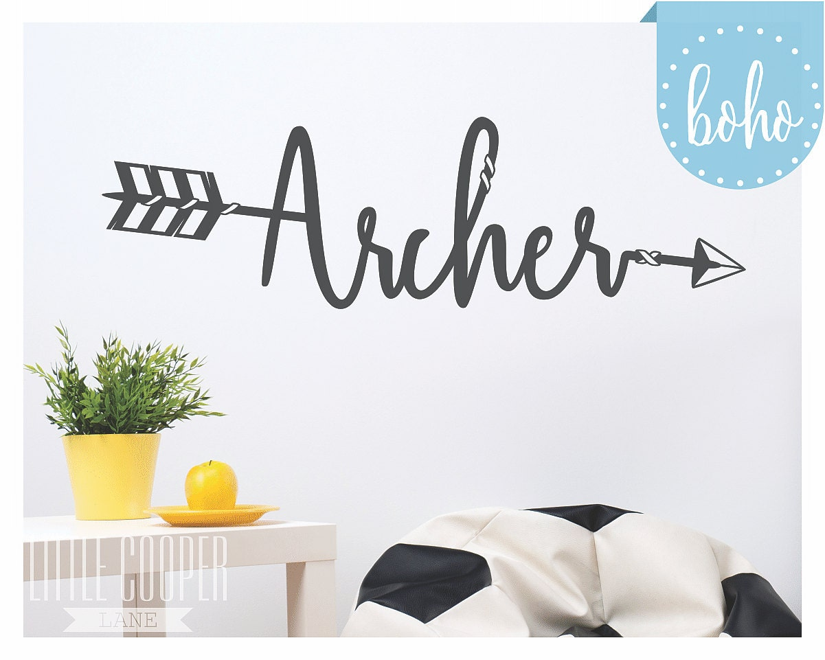 CUSTOM Boho Arrow Name Wall Decal Large Vinyl Wall Decal Sticker - Custom reusable vinyl wall decals   how to remove