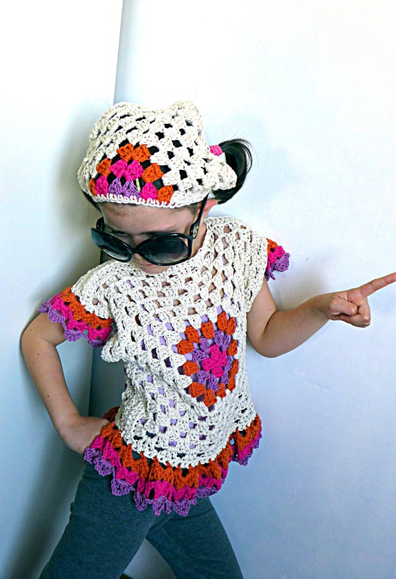 Crochet hair bandana for girls, handmade headscarf in cotton, hair ...