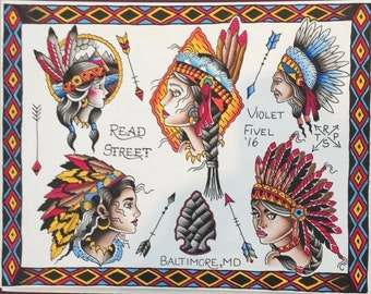 Native American Tattoo Flash