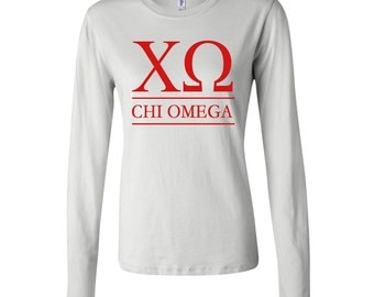 Chi Omega FITTED Long Sleeve Tshirt, Chi O T- shirt, XO Shirt, xo T-Shirt, Chi Omega Greek Letter Long Sleeve Tshirt, Chi O Apparel