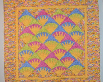 Quilted New York Beauty Style Wall Hanging or Lap Quilt