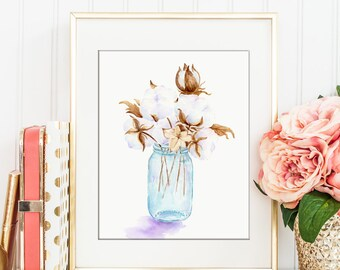 Watercolor painting of cotton bolls in mason jar printable, instant download, wall art