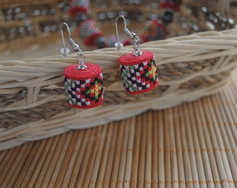 Gift for her gifts for girlfriend red earrings dangle earrings ethnic jewelry fabric earrings embroidered jewelry boho earrings gift idea