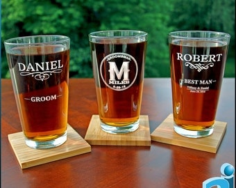 Personalized Pint Glasses, 16 oz. - Free Gift Boxes and Digital Proofs - Wedding, Groomsman, Best Man, Usher, Father of the Bride