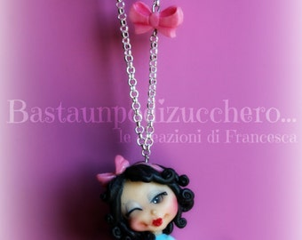 Snow white pin up necklace