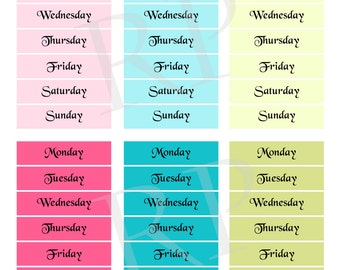 Date Cover Day of the Week Planner Stickers