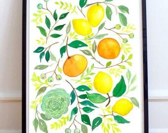 Decorative painting. Lemon