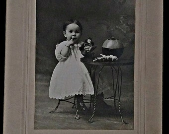 SALE Cabinet Card Child Playing with Toys