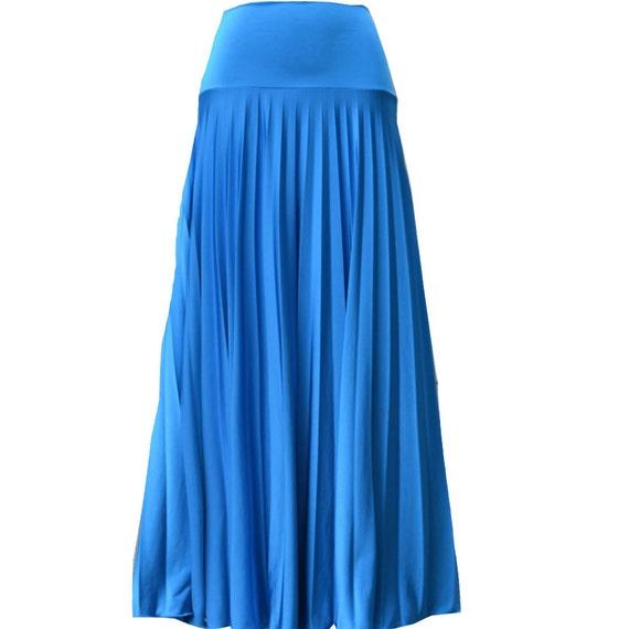 azure flare jersey pleated maxi skirt modest skirt