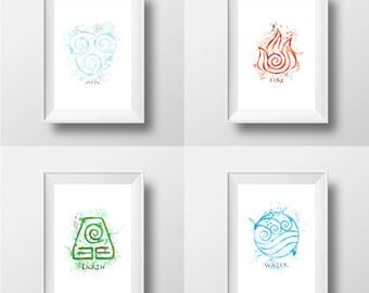 Avatar, The Last Airbender, Elements Package, Prints * Instant Download *