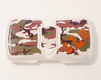 Camo Travel Baby Wipes Case, Personalized Wipes Case, Girl Camo Wipe Case